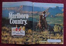 1981 Print Ad Marlboro Man Cigarettes ~ Western Cowboy Riding Horse Dry Range
