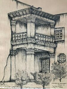 """Sergio de Leon/Ink Illustration Signed–""""CONVENTO DE CHRUBUSCO MEXICO D.F."""" 1982"""