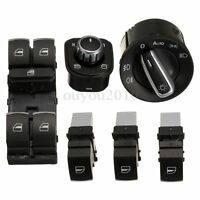 6 pcs Chrome Window Headlight Mirror Switch Set For VW Passat B6 CC Golf Jetta