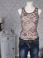 Damen Träger Top Trägertop Spitzentop Shirt ärmellos Stretch Spitze braun Neu