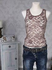 Mujer Top De Tirantes en punta Camiseta Sin Mangas Elástico Encaje Marrón NUEVO