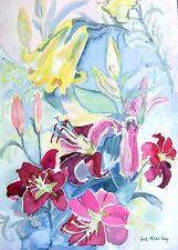 FLOWERS  AN ENCHANTING MISCELLANY LIZ MACLAY WATERCOLOUR C1980