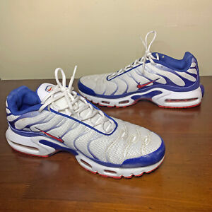 NIKE Air Max Plus TN Running Shoes White Blue Red Men's Size 13 CJ9928-100 Used