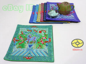 """1/2/4/6PCS Chinese legendary animal Kirin Embroidery square 25cm(10"""")Placemats"""
