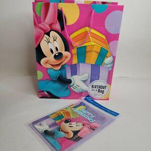 Minnie Mouse Happy Birthday Gift Bag Set Birthday w/ CARD & TISSUE (3 sheets)