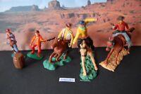 Swoppets 5 Cowboys zu Pferd Reiter teils Plasty und Timpo ca. 1960/70er