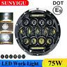 7 Inch 75W LED Projector Black Motorcycle Headlight Hi/Lo +DRL E-mark Motorbike