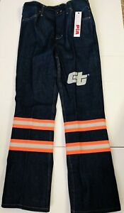 """CALPIA  Mens CT High Visibility Reflective Safety Work Jeans 34"""" x  32""""(New)"""