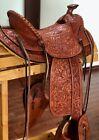 Visalia Style Saddle - Full Mixed Floral Carved, Tapaderos - New
