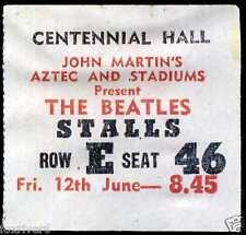 THE BEATLES Concert Ticket 1964 - Adelaide Centennial Hall Australia - reprint