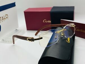 Cartier Smooth Stainless Steel Rimless Frame Classic Wooden Frames Vintage