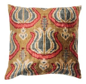 Ikat Velvet Pillow Cover 20\u201d x 20\u201d Handmade Silk Ikat Velvet Pillow