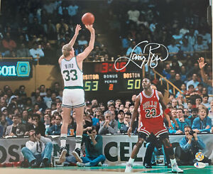 Larry Bird Signed 16x20 Autographed Basketball Photo Beckett Witness Bird Holo