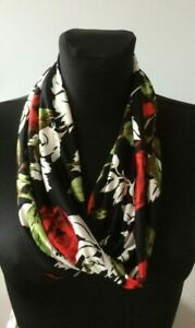handmade cowl, snood, neck warmer, scarf, black and red rose print, silky knit