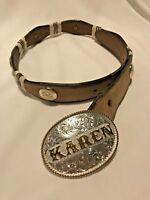 Belt Buckle Montana Silversmith With Concho Double S Leather Belt~SIZE 30~KAREN