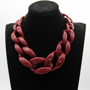 Long Chain Big Necklaces Women Chunky Chains Choker Wine Red Acrylic Pendant Jew