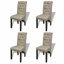 4pc Linen Dining Chair Set Beige Kitchen Stool High Back Seat Modern Retro