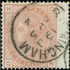 1880 1/- Orange-Brown Pl 13 QH  SG151 BIRMINGHAM Cancel VGU Cat.£700.00