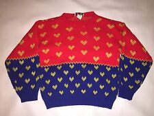 Vintage Fairy Kei Sweater Skirt Picamo Outfit Red Blue Gold Sz M Hearts Kawaii