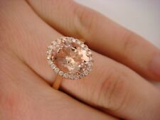 2.50 CT PEACH MORGANITE AND 0.25 CT T.W. HALO DIAMONDS 14K ROSE GOLD LADIES RING