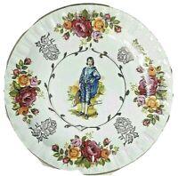 "Vintage "" Blue Boy "" Collectible Plate Gold Floral Rose Decorative England 8"""