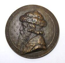 "Rare 1900's France 3"" Bronze Token Medal Jean Gutenburg Printing Press Inventor"