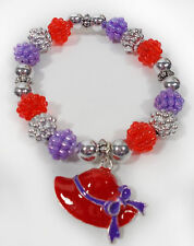 RED HAT CHARM & BEAD SILVER STRETCH BRACELET FOR THE RED HAT LADIES OF SOCIETY