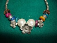 silver crystals flower pearl charms bracelet New