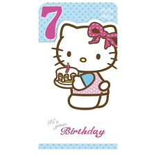 Hello Kitty Age 7 7th Birthday Card - Open Daughter Niece Granddaughter....