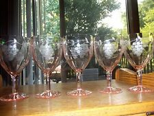 (5) Water goblets glasses wine Pink Depression Standard Glass Grape Rose optic
