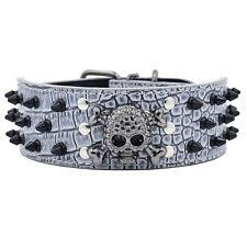 Hundehalsband Halsbänder PU Leder Totenkopf Nieten 5cm Breit Große Hunde Grau