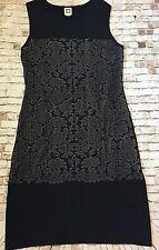 New Anne Klein Women's M Textured Baroque Knit Dress Stretch Shift Dress Navy