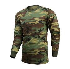 Mens Army Military Training Outdoor Woodland Camo Long Sleeve Tee T-Shirt