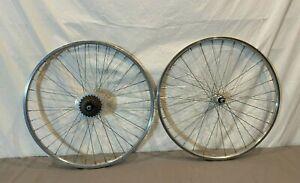 """Vintage 7-Speed 26"""" Mountain Bike Wheelset Weinmann 2719 Rims Shimano Hubs"""