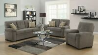 Modern Casual 3-Piece Chenille Fabric Sofa Set Couch Loveseat & Chair, Oatmeal