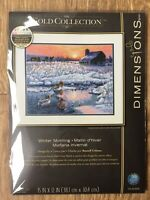 """Dimensions Gold Collection Counted Cross stitch Kit Winter Morning Snow 15 x 12"""""""
