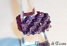 Idea regalo ANELLO artigianale donna cristalli Swarovski perline conteria viola