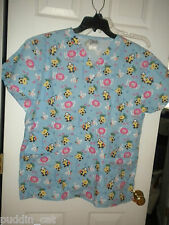 Malibu Doc blue women's medical scrub top with cute animal design NWT L