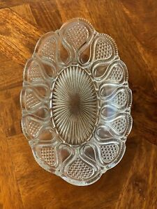 Mint! Large Stunning Crown Crystal Depression Glass Oval Shaped Serving Bowl