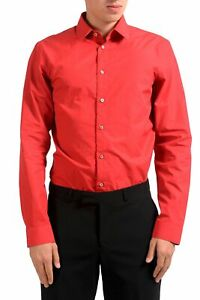 Jil Sander Men's Red Long Sleeve Dress Shirt Size 16 16.5 17