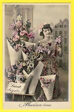 cpa FEMME FLEURISTE Bouquets de FLEURS SAINT AUGUSTE BARDET de PARIS Ed. Imbert