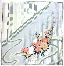 "Vintage GALIMBERTI Signed GEOMETRIC Floral Green Pink Beige Crepe Silk 32"" Scarf"