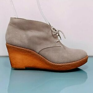 COLE HAAN Womens 8 B Gray Suede Leather Crepe Wedge Lace Up Booties Boots Shoes