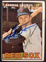 George Thomas Red Sox Signed 1967 Topps Baseball Card #184 Auto Autograph 1
