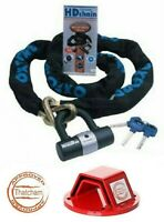 OXFORD HD SOLD SECURE MOTORCYCLE BIKE CHAIN LOCK 2M AND MAMMOTH GROUND ANCHOR