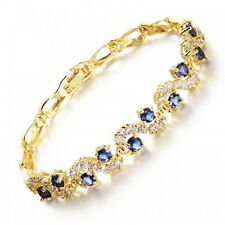 GORGEOUS 18K YELLOW GOLD PLATED & SAPPHIRE BLUE CUBIC ZIRCONIA TENNIS  BRACELET