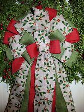 HANDMADE MISTLETOE CHRISTMAS BOW WIRED RIBBON for WREATH LANTERN GARLAND # 11