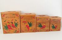 70's 4 Vtg Dovetail Rooster Wood Kitchen Canisters Flour Sugar Coffee Tea