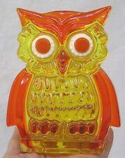 Vintage Mid Century Orange Yellow Lucite OWL Napkin Holder