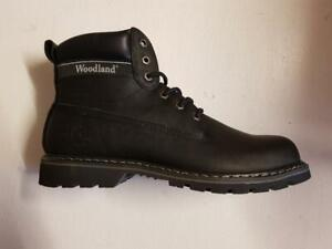 Mens M94 Woodland Goodyear Welted Sole Padded Ankle Lace-Up Boots Leather Black